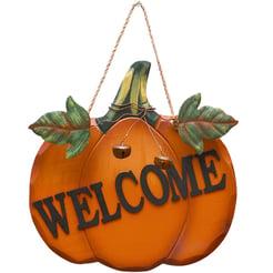 Orange pumpkin welcome sign