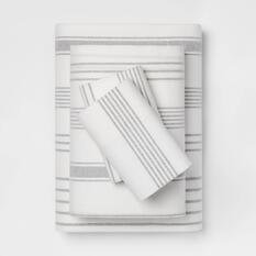 Gray stripped flannel sheet set
