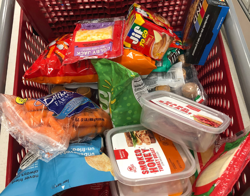 grocery cart full of generic brand items
