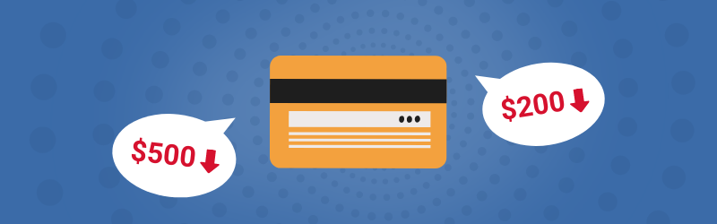 Credit card with a decreasing credit limit