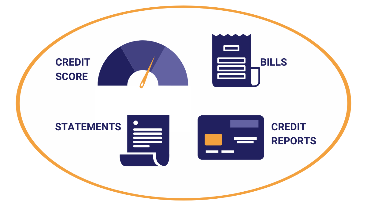 Credit score, bills. statements, credit reports